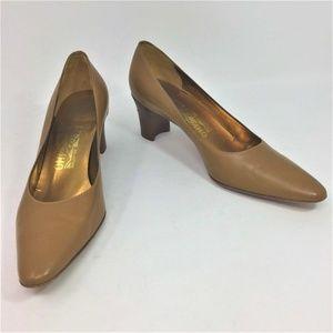 Salvatore Ferragamo Pumps Tan Leather Heels 6.5B